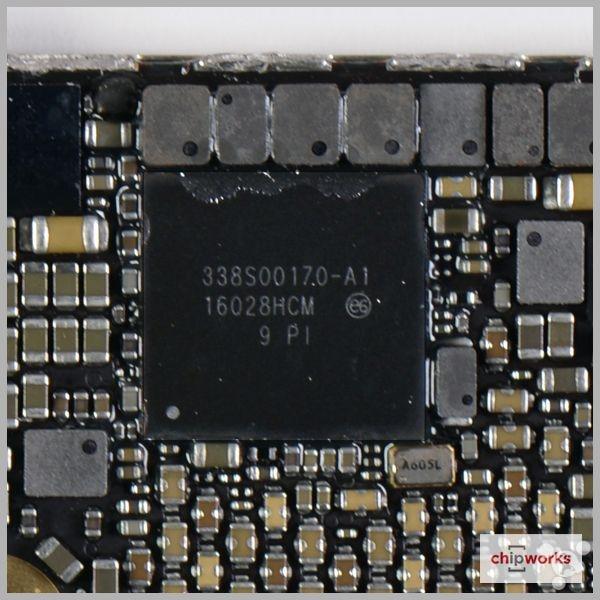 iphone se 内部看到了一枚 338s00170 元件,看起来像是电源管理集成电
