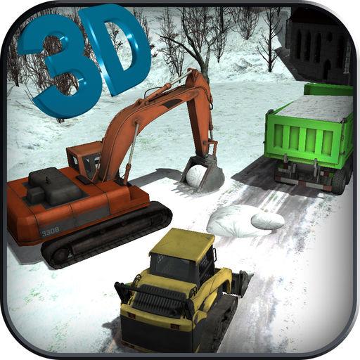 Heavy Snow Excavator Crane Op
